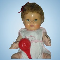 Vintage 1950s American Character Tiny Tears Doll 14 inch with Rock A Bye Eyes and original Sunsuit