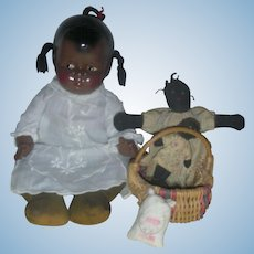 Rare Effanbee Black Composition Baby Grumpy Doll with Chubby Toddler Grumps Body