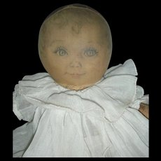 Rare 12 inch 1930s Maude Tousey Fangel Sweets Oil Cloth Baby Doll Georgene Averill or Madame Hendrix