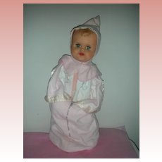 Vintage 1950s Magic Skin Molded Hair Doll 20 inch with original Bunting