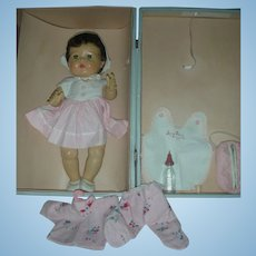 Rare Dark Brunette Tiny Tears Doll by American Character with Layette 1950's Drink and Wet Doll