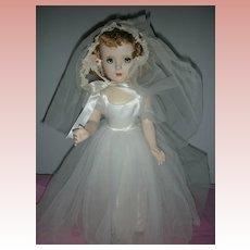 Vintage 1950's Madame Alexander Hard Plastic Margaret Face Bride Doll Tagged Dress