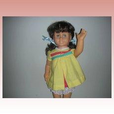 Vintage Brunette Pigtail Mattel 1960's Chatty Cathy Doll Still Works Wearing Original Nursery School Dress