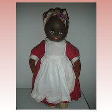 Rare Mask Face Musical Krueger 18 inch Black Cloth Doll Circa 1930's