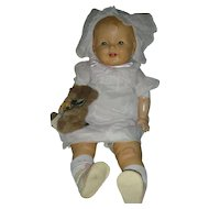 Vintage 1930's Composotion Chubby Large Baby Doll 26 inch with Working Crier Compo Dolls