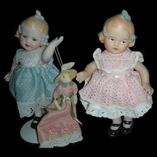2 Vintage All Bisque Jointed Artist Dolls 8 inch one Holding Easter Bunny