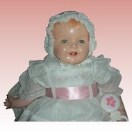 Vintage Very Large 27 inch 1930's Composition Chubby Happy Baby Doll Toddler Doll Blue Tin Sleep Eyes Open Mouth Four teeth Compo