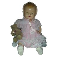 Vintage 25 inch Composition Baby Doll Compo Dolls Molded Hair