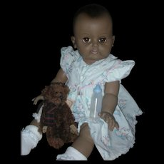 Rare Black Effanbee 20 inch Dy-Dee Baby Doll Drink and Wet Heavy Vinyl Baby