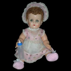 1950's Vintage Ideal Betsy Wetsy Doll with Caracul Wig Wearing Original Clothing Still Squeaks