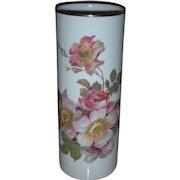 Vintage Hand Painted Wild Rose Vase Marked Gerold Porzellan Bavaria 9.25 inch
