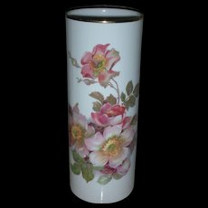 Vintage Hand Painted Wild Rose Vase Marked Gerold Porzellan Bavaria 9.25 inch