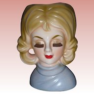 Vintage Rubens Lady Head Vase Never Used Headvase Planter Doll