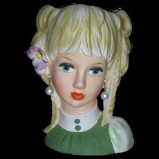 Large Teenage Ruebens 7.75 Inch Headvase Unused Mid Century Head Vase Planter Doll