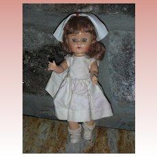 Vintage 8 inch 1950's Walker Doll By Virga Playmates Nurse RN Dolls