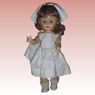 Vintage 8 inch 1950's Walker Doll By Virga Playmates Nurse RN Dolls