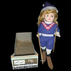 Vintage 1950's Arranbee R&B Littest Angel Walker Skier Doll in Box 10 inch