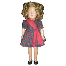 Vintage 12 inch 1950's Ideal Vinyl Shirley Temple Doll with Tagged Dress and Pin