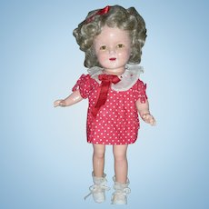Vintage Ideal All Composition Small 13 Inch Shirley Temple Compo Doll 1930's