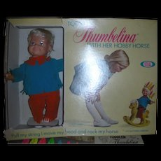 Rare Ideal Toddler Thumbelina Doll with Her Hobby Horse Mint in Box Circa 1968