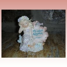 Vintage Enesco Coral Kingdom Athena Mermaid Figurine with Sign