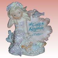 Vintage Enesco Coral Kingdom Athena Mermaid Figurine with Sign