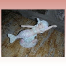 Vintage  Enesco Coral Kingdom Mermaid Figurine Crystal