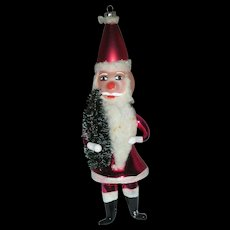 Vintage De Carlini Italian Glass Ornament Santa Claus Mid Century Hand Blown Holding Bottle Brush Tree
