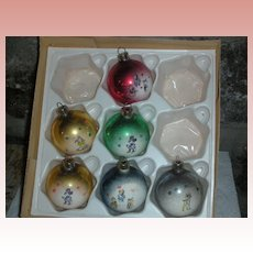Rare Early Walt Disney Mercury Glass Christmas Ornaments 1940's