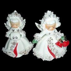 Vintage Holt Holt Howard Christmas Angel Figurine Candle Stick Holders 1960 - Red Tag Sale Item