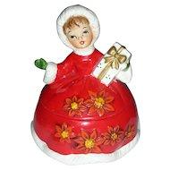 Vintage Lefton Christmas Shopper Girl Cany Dish Jar Mid Century Modern