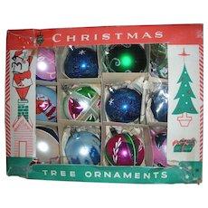 Box of Shiny Brite Christmas Ornaments Handpainted Teardrop Santa Mid Century Modern  Japan