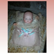 Vintage AM Armand Marseilles Dream Baby Bisque Doll German Pillow Pupppet Pet