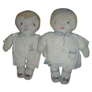 Pair of Early Vintage Cloth Rag Dolls Boy and Girl Pair Hand Sewn Features