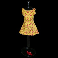 Vintage Mod Barbie Doll Sun Shiner Pak Dress with Red Original Heels 1969