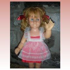 Vintage Mattel Chatty Cathy Doll Original Organdy Dress Blonde Pigtails 1960's