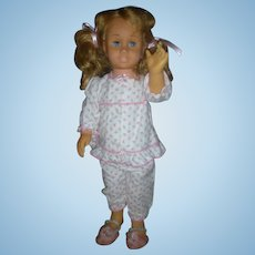 Vintage Mattel Chatty Cathy Blonde Pigtail Doll wearing original Pajamas and Slippers