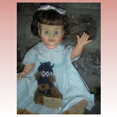 "Rare Brunette Large 22"" Betsy Wetsy Doll 1950's Drink and Wet Dolls Play Pal Size"