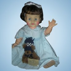 """Rare Brunette Large 22"""" Betsy Wetsy Doll 1950's Drink and Wet Dolls Play Pal Size"""