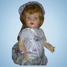 Vintage IDeal 22 inch Flirty Eye Saucy Walker Hard Plastic Doll in Professional Made Mackinac Island Lilac Dress