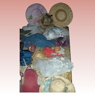 Lat of Vintage Doll Hats, Bonnets and Parasols