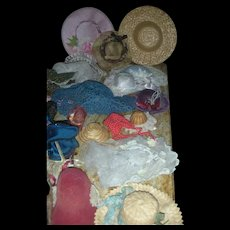 Lat of Vintage Doll Hats, Bonnets and Parasols