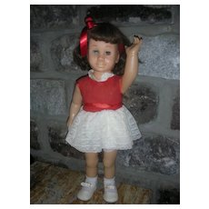 Vintage Mattel 1960's Chatty Cathy Brunette Doll Wearing Original Party Dress