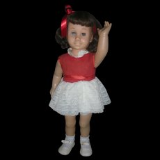Vintage Mattel 1960's Chatty Cathy Brunette Doll Wearing Original Party Dress