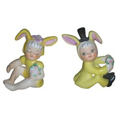 Pair of Rare Vintage Holt Howard Easter Bunny Candle Climber Figurines Bride and Groom Rabbits