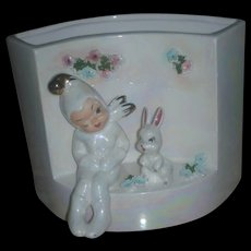 Vintage Mid Century Lefton Easter Planter with Bunny and Pixie Figurine