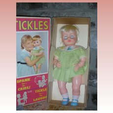 Vintage Deluxe Reading Tickles Doll in Box 1963 20 Inch