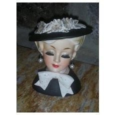 Vintage Lady Head vase Dressed in Black with Bonnet
