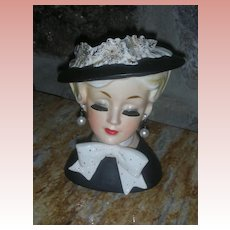 Vintage Lady Head vase Dressed in Black with Bonnet