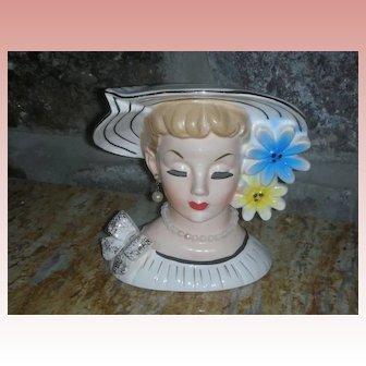 Vintage Relpo Lady Head Vase Planter